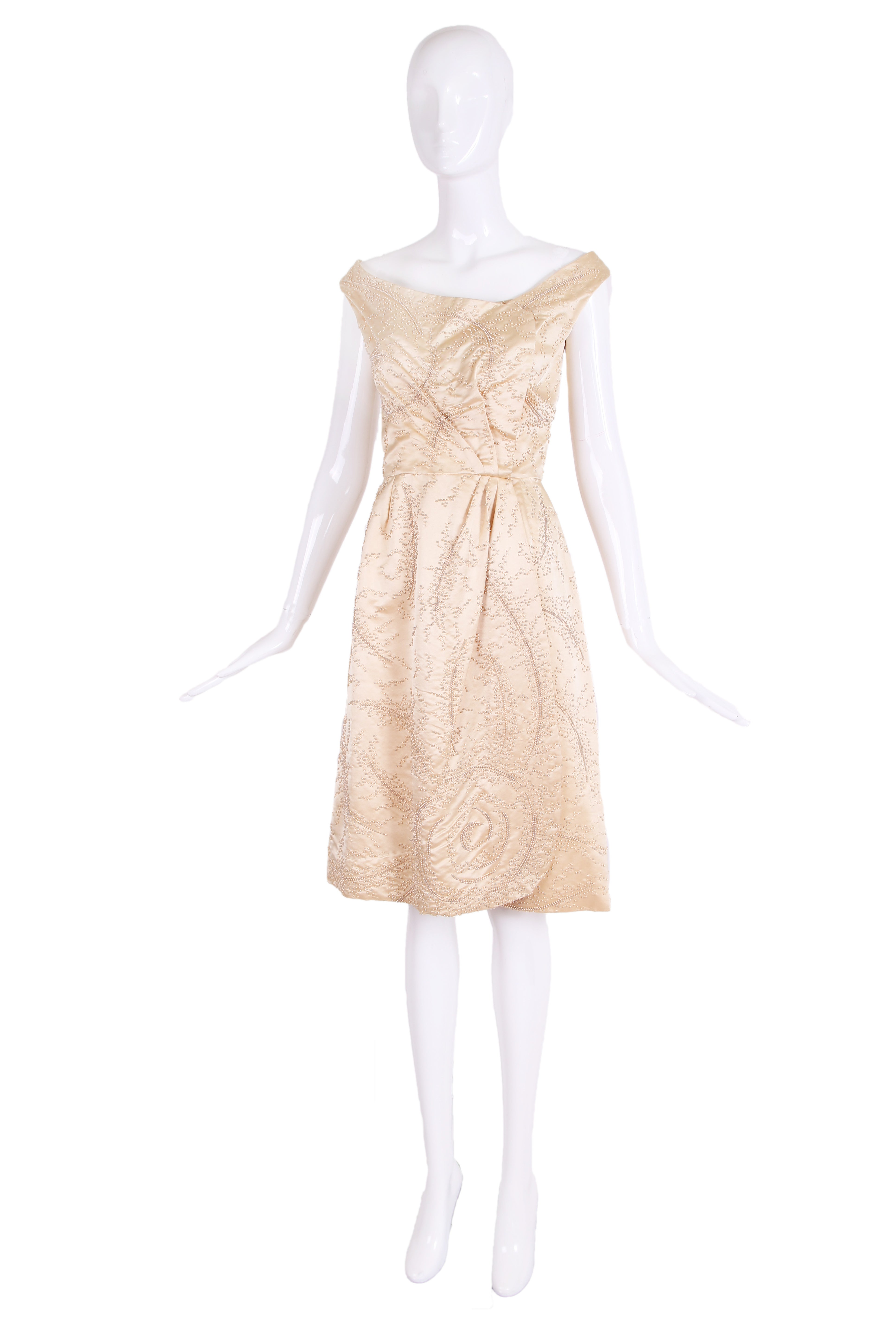 Ceil Chapman Champagne Colored Satin Beaded Cocktail Dress Ca. 1965 For  Sale At 1stdibs