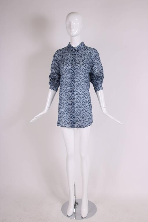 Hermes Men's Blue Linen Collared Button Down Long Sleeve Floral Print Shirt In Excellent Condition For Sale In Los Angeles, CA