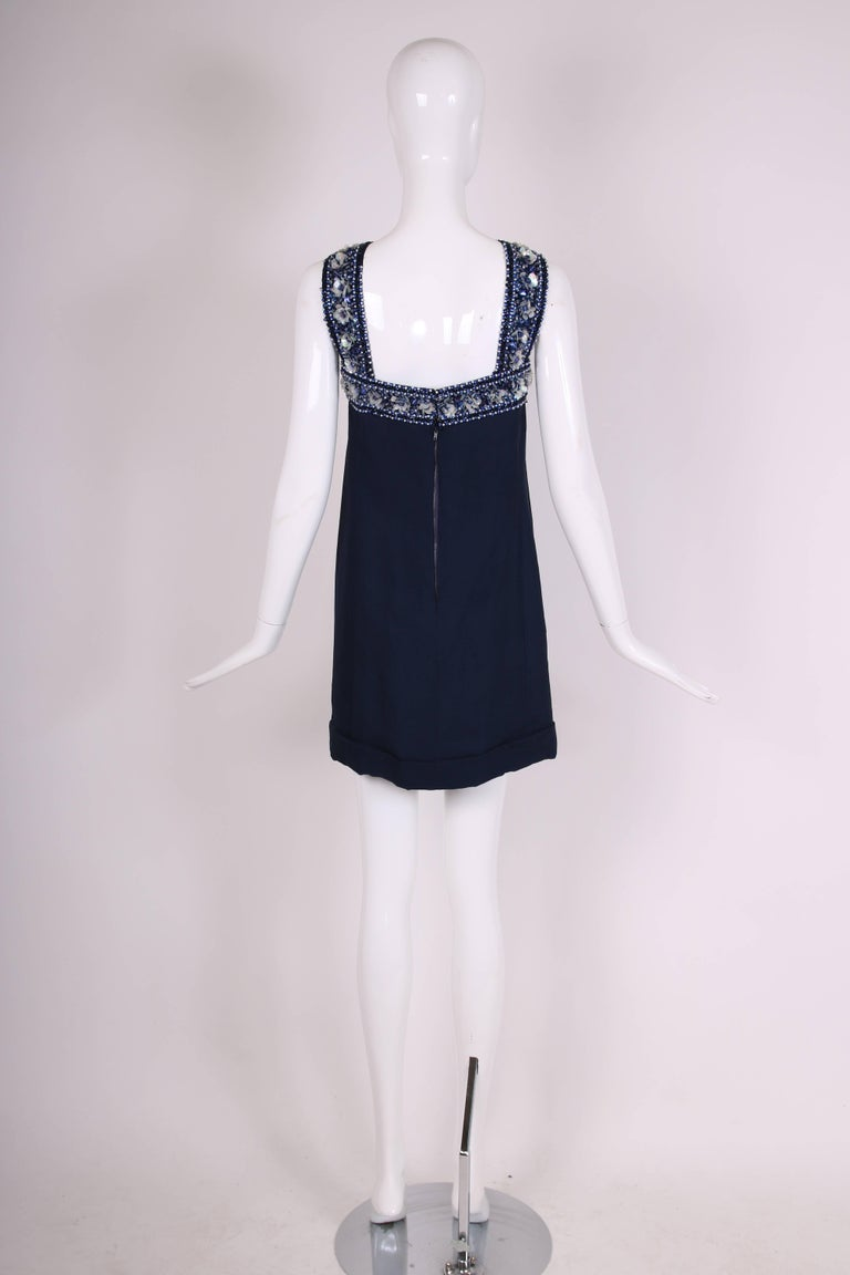 Pierre Cardin Haute Couture Blue Silk Cocktail Dress w/Beaded Trim Ca.1966 In Excellent Condition For Sale In Los Angeles, CA