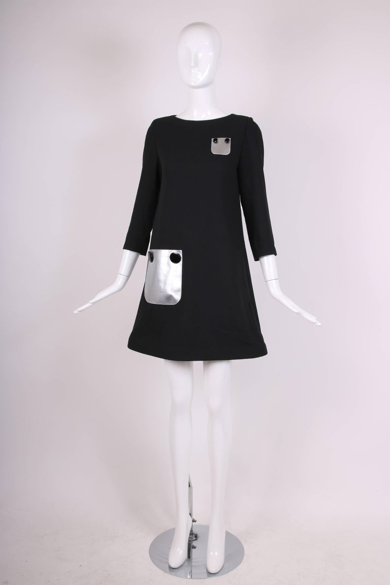 Pierre Cardin Haute Couture Mod Black Cocktail Dress w/Silver Pockets In Excellent Condition For Sale In Los Angeles, CA