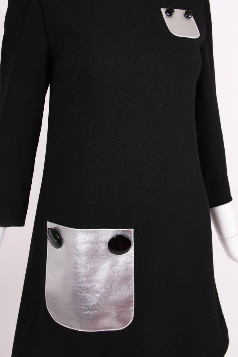 Pierre Cardin Haute Couture Mod Black Cocktail Dress w/Silver Pockets 6