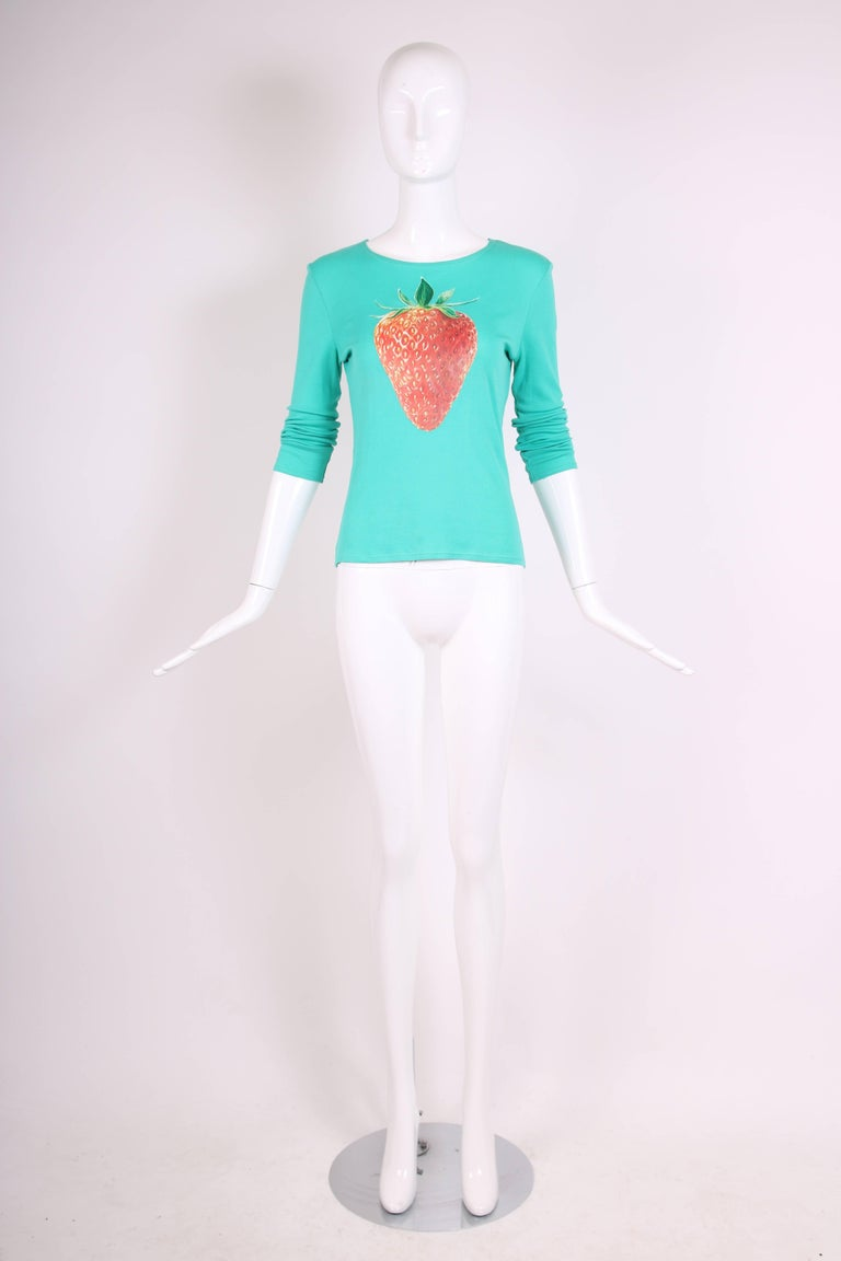 Chloe by Stella McCartney Cotton Long Sleeved T-Shirt w/Strawberry Graphic 3
