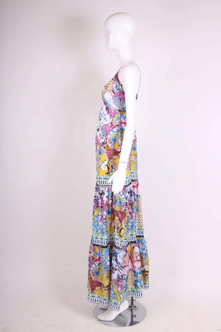f1be9ae737 Roberto Cavalli Colorful Printed Silk Maxi Dress w/Tiered Skirt In  Excellent Condition For Sale