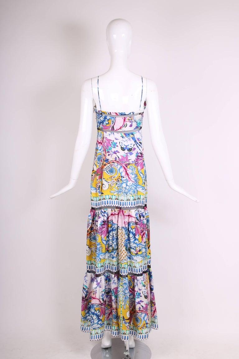 Roberto Cavalli Colorful Printed Silk Maxi Dress w/Tiered Skirt 5