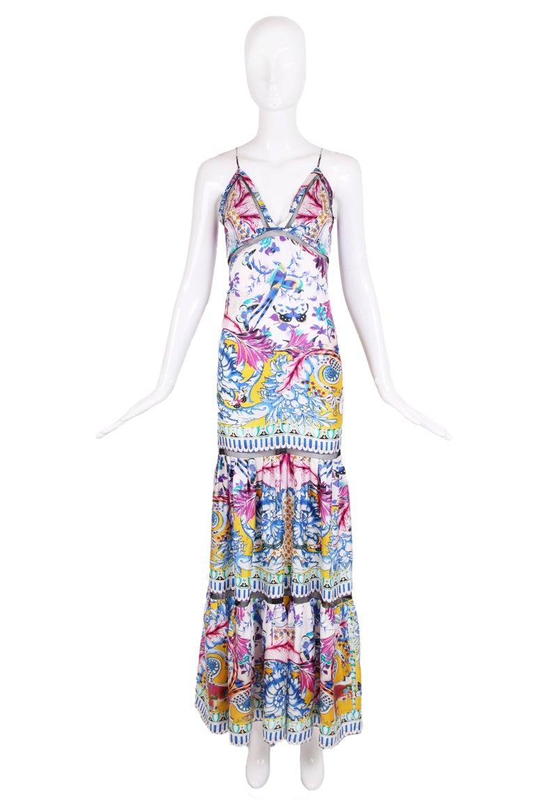 Roberto Cavalli Colorful Printed Silk Maxi Dress w/Tiered Skirt 2