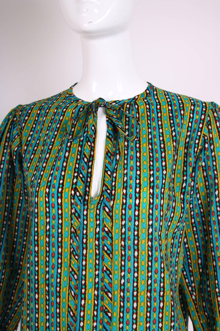 1970's Yves Saint Laurent Printed Blouse w/Ties at Neck 5