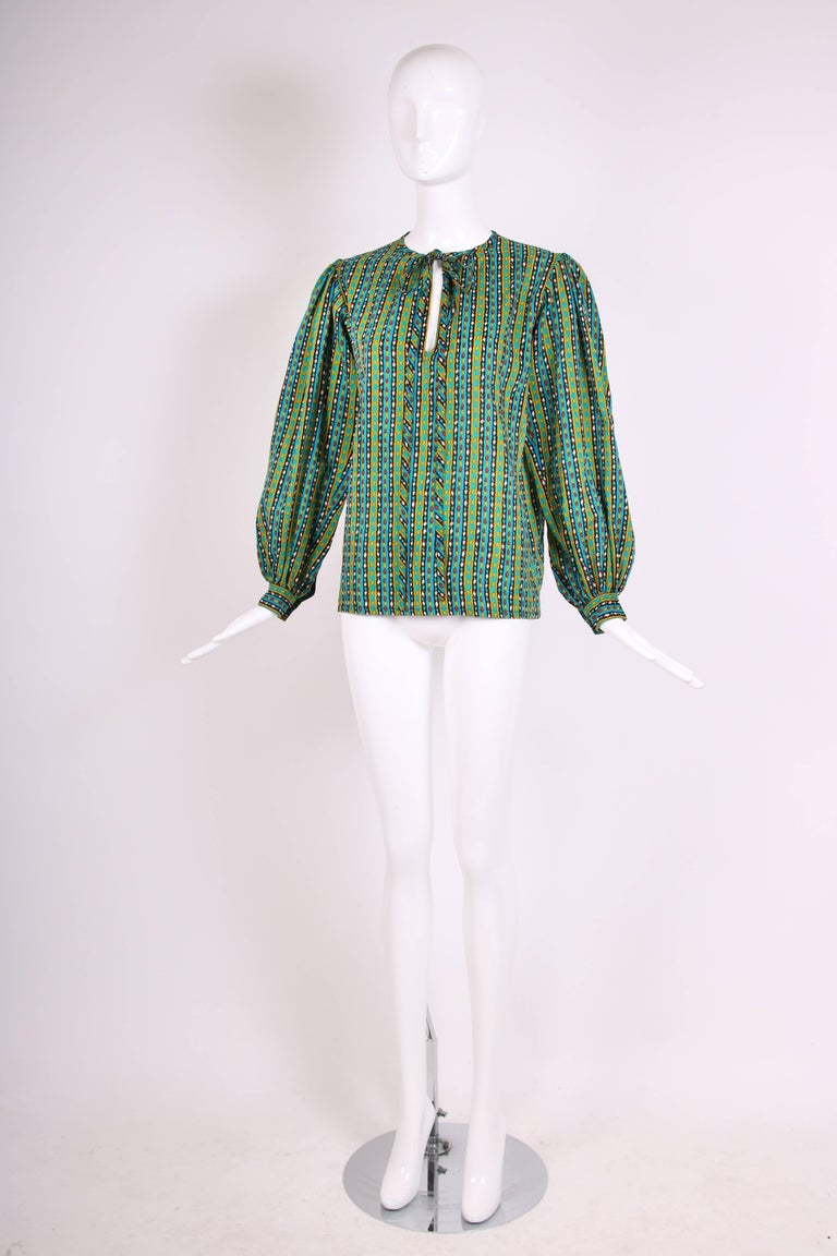 1970's Yves Saint Laurent Printed Blouse w/Ties at Neck 3