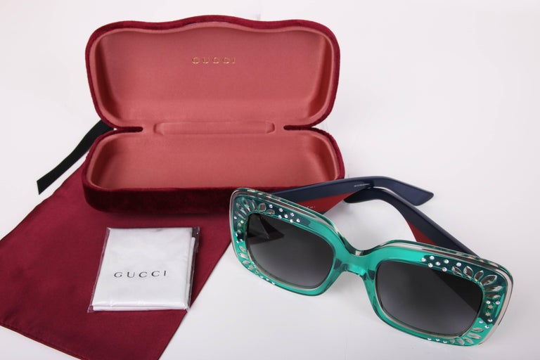 Gucci Green Oversized Square Frame Sunglasses w/Rhinestone Detail 3