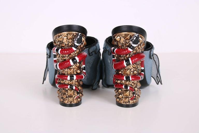 2016 Gucci Owen Ruffle Trompe L'Oeil Sequin Block-Heel Mules w/Snakes Sz 37 For Sale 1