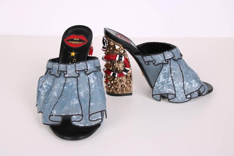 Black 2016 Gucci Owen Ruffle Trompe L'Oeil Sequin Block-Heel Mules w/Snakes Sz 37 For Sale