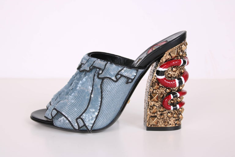 Women's 2016 Gucci Owen Ruffle Trompe L'Oeil Sequin Block-Heel Mules w/Snakes Sz 37 For Sale