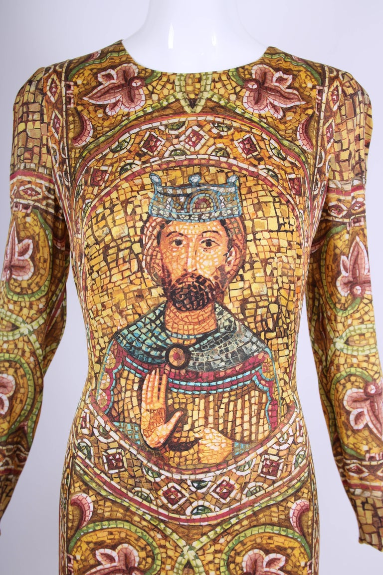 2013 Dolce & Gabbana Mosaic Collection Silk Dress w/Icon Graphic NWT 6
