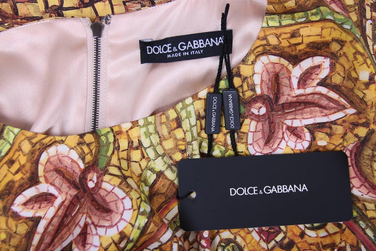 2013 Dolce & Gabbana Mosaic Collection Silk Dress w/Icon Graphic NWT 7