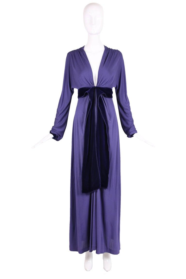 Yves Saint Laurent YSL by Tom Ford Purple Maxi Dress W/Velvet Ties 2