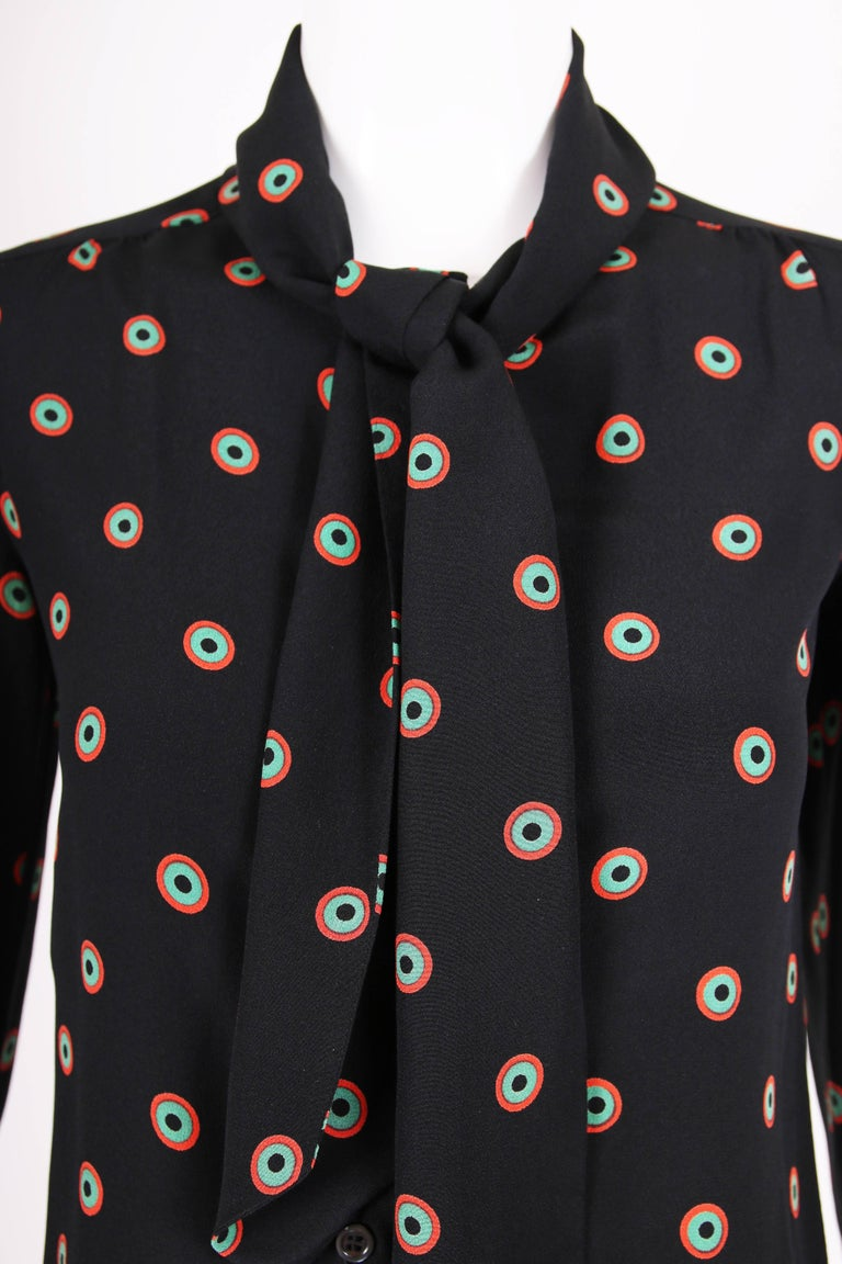Women's 1970's Yves Saint Laurent YSL Silk Printed Blouse w/Neck Ties For Sale