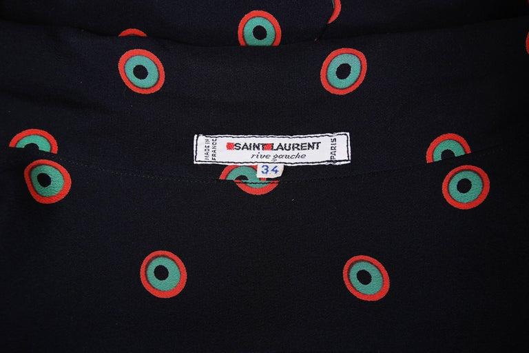 1970's Yves Saint Laurent YSL Silk Printed Blouse w/Neck Ties For Sale 1