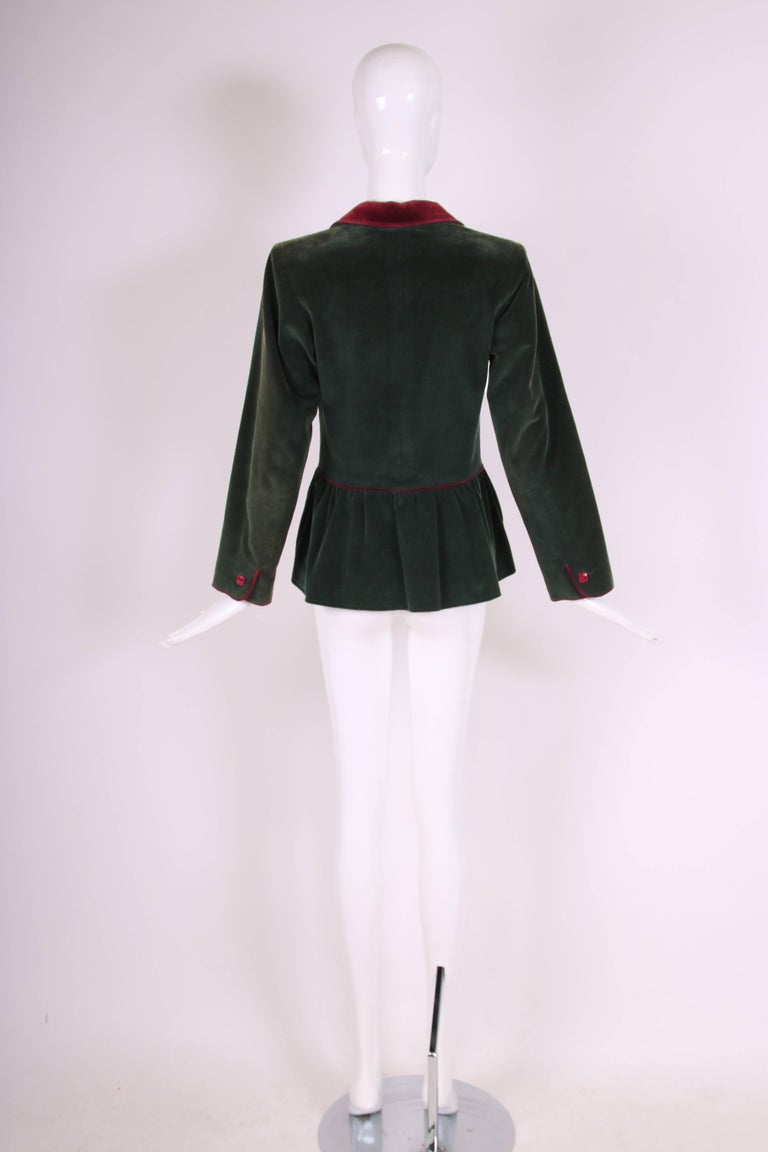 Yves Saint Laurent YSL Green Corduroy Jacket W/Burgundy Velvet Trim In Excellent Condition For Sale In Los Angeles, CA