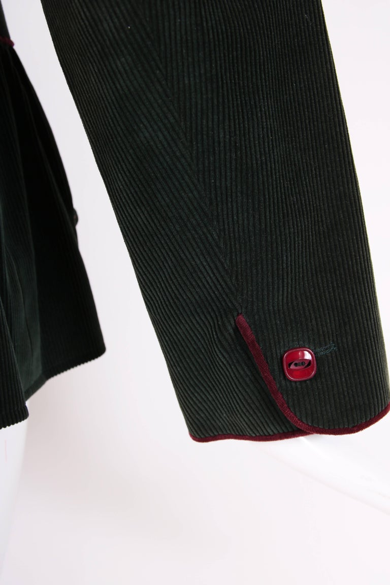 Yves Saint Laurent YSL Green Corduroy Jacket W/Burgundy Velvet Trim For Sale 1