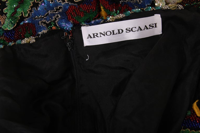 Arnold Scaasi Couture Beaded Embroidered and Sequined Cocktail Dress For Sale 2
