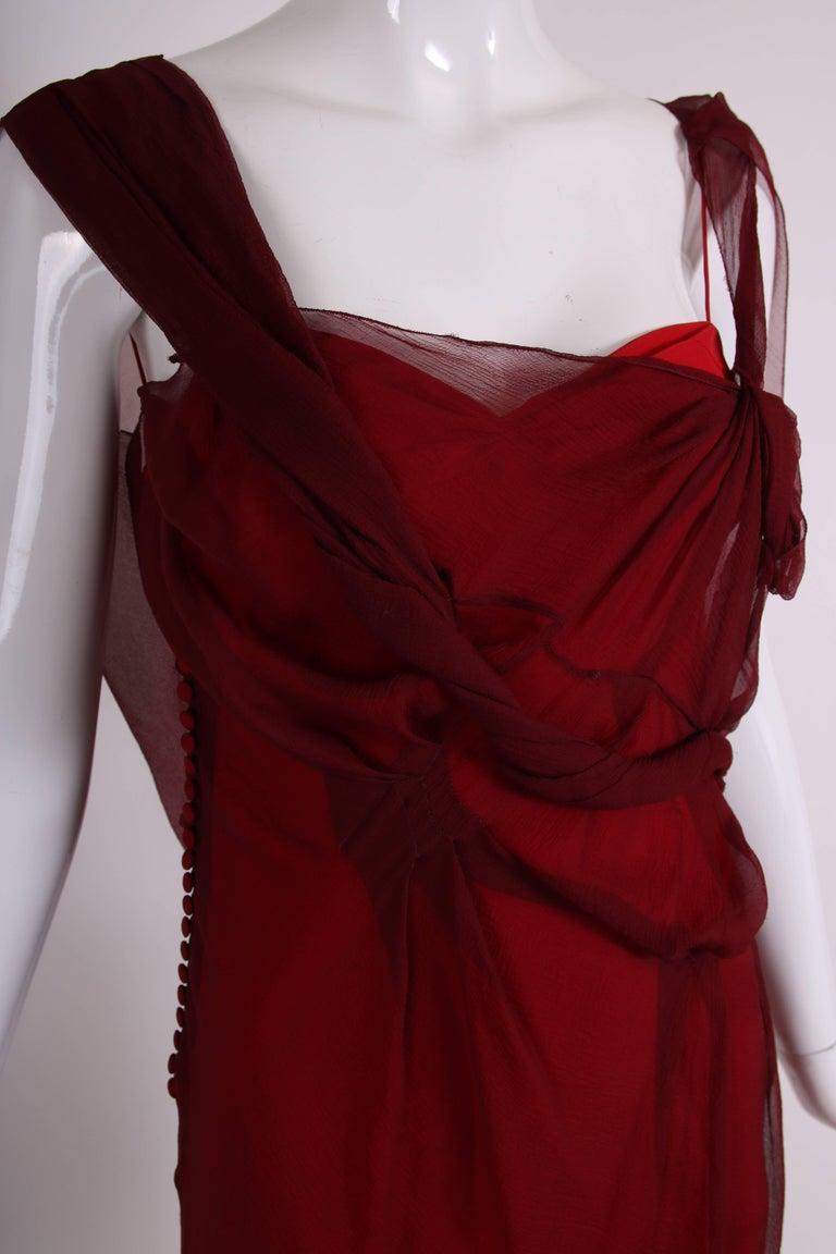 Christian Dior by John Galliano Burgundy Chiffon Asymmetrical Cocktail Dress For Sale 1