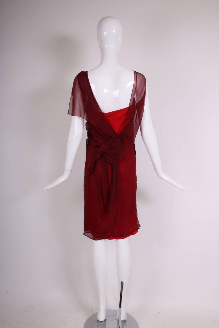 Women's Christian Dior by John Galliano Burgundy Chiffon Asymmetrical Cocktail Dress For Sale