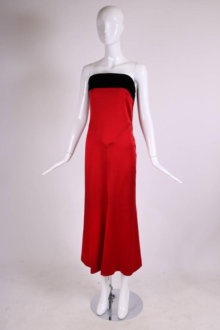Yves Saint Laurent YSL Red Strapless Gown Dress w/Black Velvet Band ...