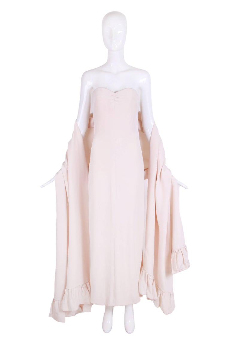 Attributed to Valentino 1970's strapless blush colored silk column gown with very high side slit and matching ruffled trim shawl. In excellent condition - no size tag, no label so please see measurements.
