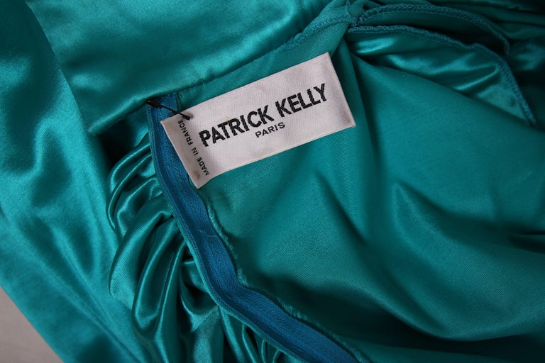 1988 Patrick Kelly Electric Turquoise Stretch Mermaid Gown For Sale 2
