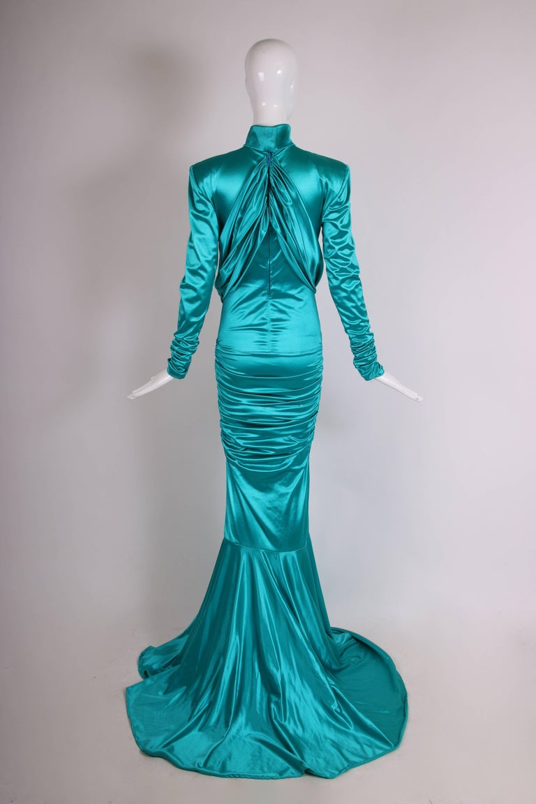 Women's 1988 Patrick Kelly Electric Turquoise Stretch Mermaid Gown For Sale