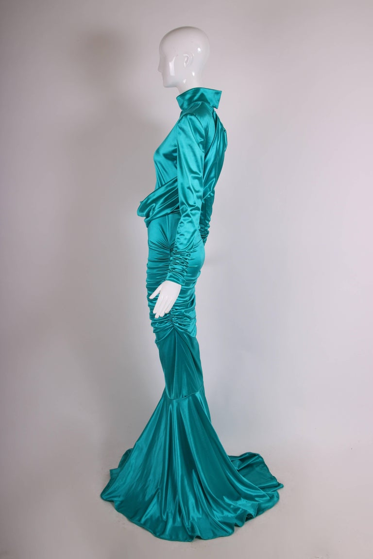 1988 Patrick Kelly Electric Turquoise Stretch Mermaid Gown In Good Condition For Sale In Los Angeles, CA