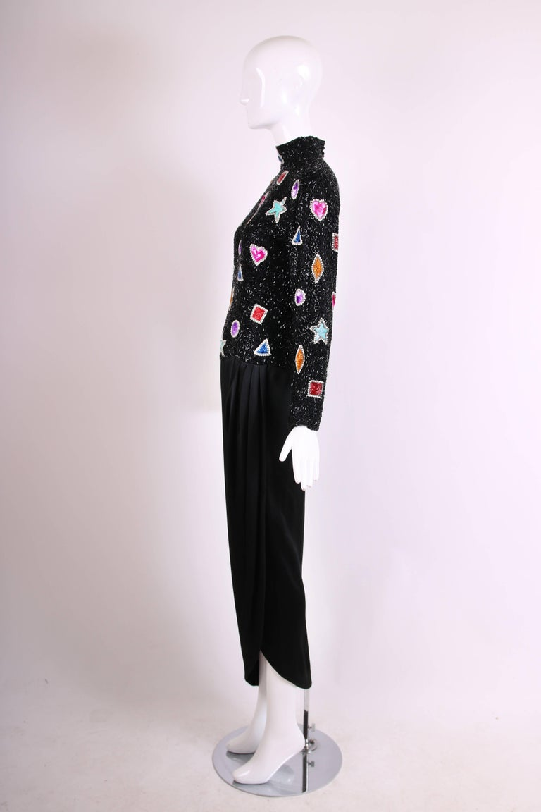 Women's Bob Mackie Evening Gown w/Beaded & Sequined Top & Black Silk Draped Skirt For Sale