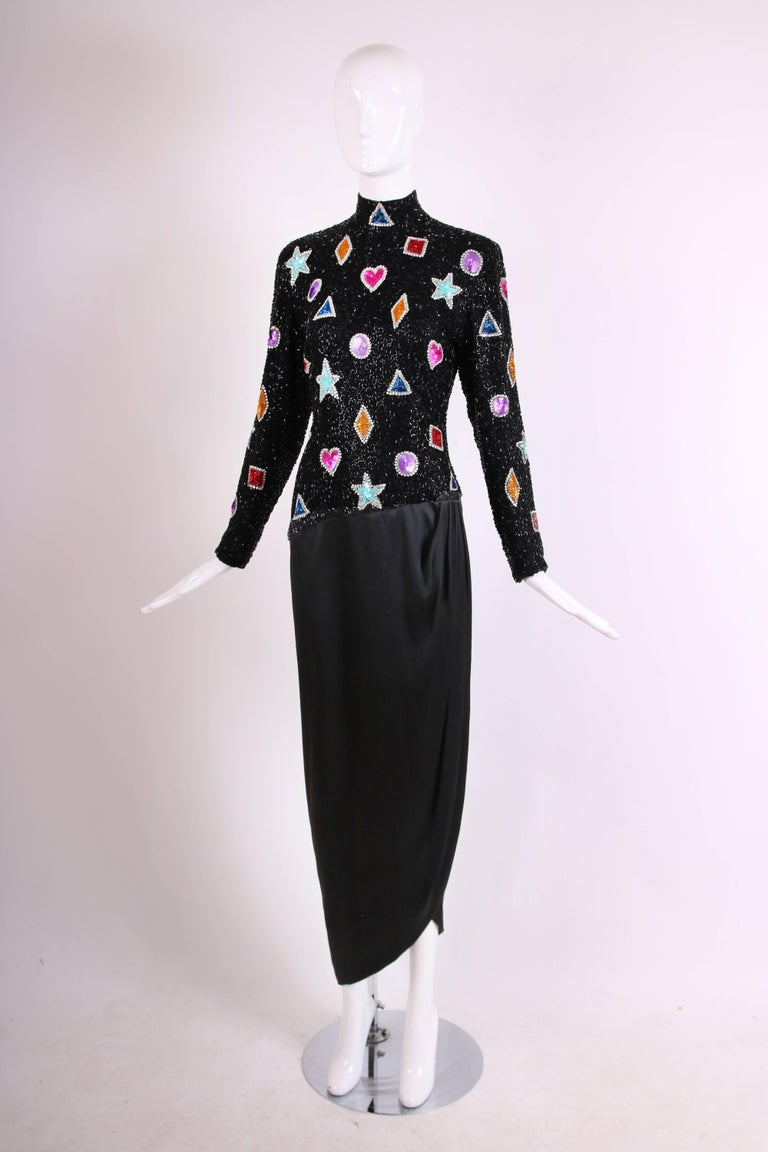 Bob Mackie Evening Gown w/Beaded & Sequined Top & Black Silk Draped Skirt In Excellent Condition For Sale In Los Angeles, CA
