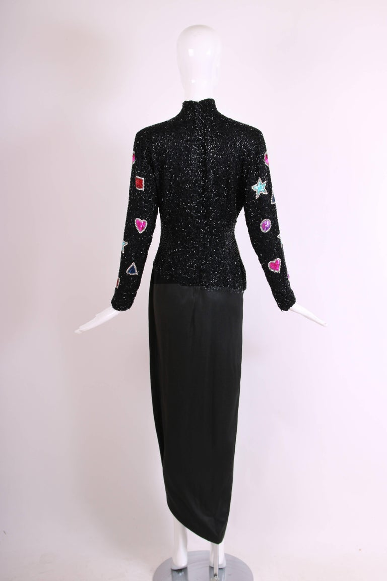 Bob Mackie Evening Gown w/Beaded & Sequined Top & Black Silk Draped Skirt For Sale 1
