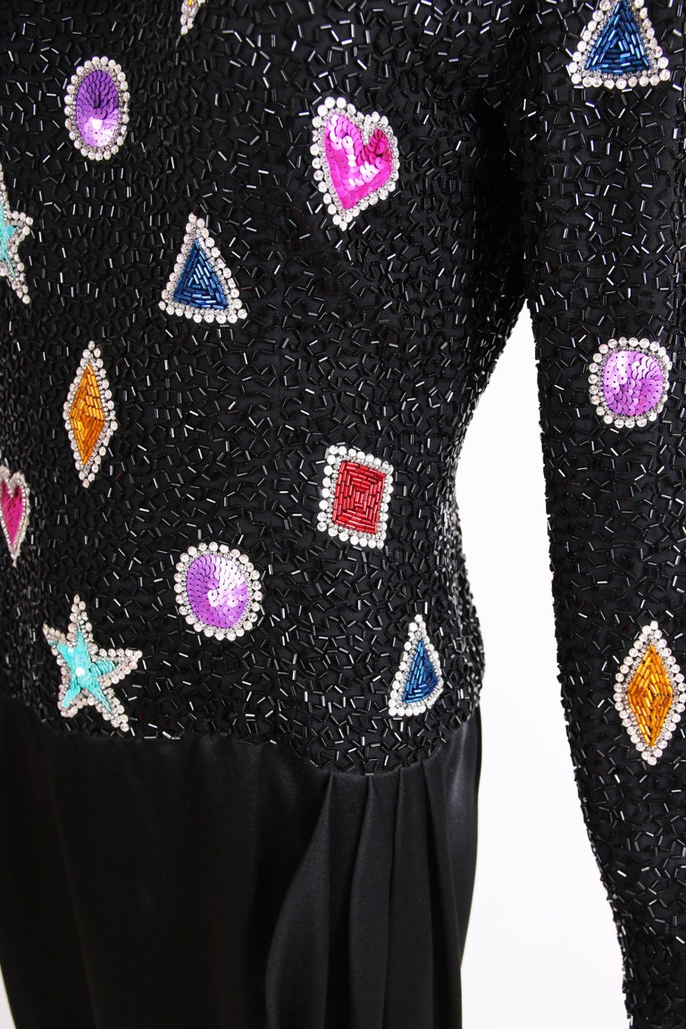 Bob Mackie Evening Gown w/Beaded & Sequined Top & Black Silk Draped Skirt For Sale 2