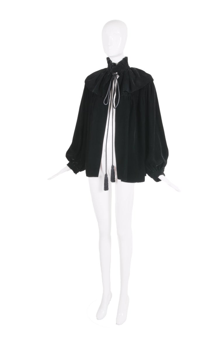 1970's Yves Saint Laurent Russian collection black velvet jacket with Pierrot collar and black silk cord neck ties. In excellent condition - size tag 40.