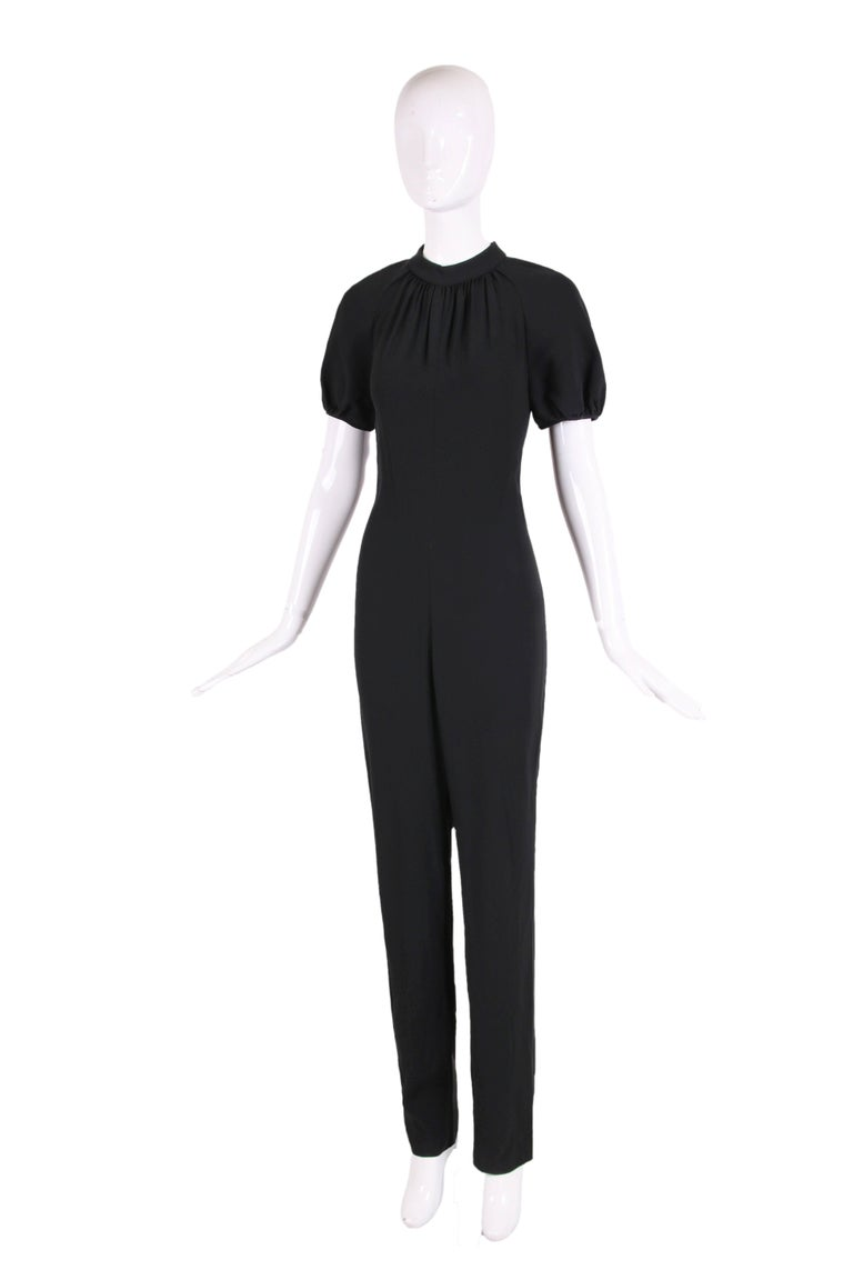 Yves Saint Laurent YSL Black Crepe Jumpsuit with Lace Illusion Back Panel, 2012  In Excellent Condition For Sale In Los Angeles, CA