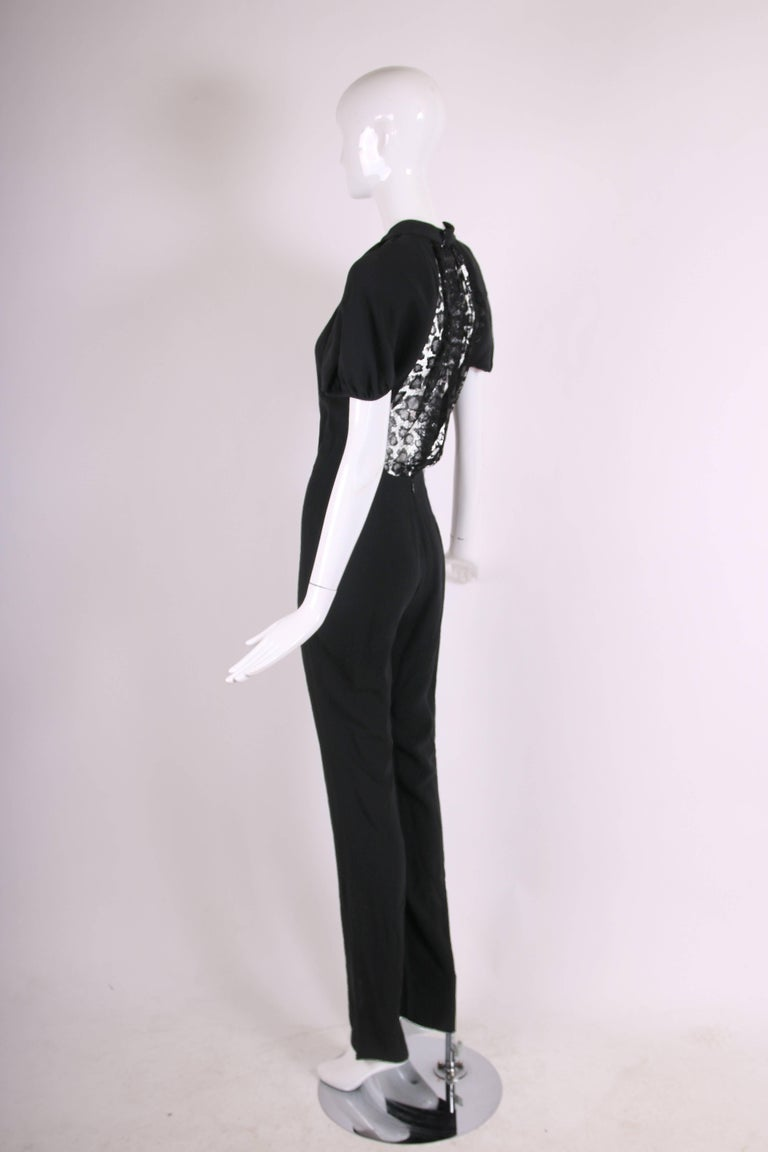 Women's Yves Saint Laurent YSL Black Crepe Jumpsuit with Lace Illusion Back Panel, 2012  For Sale