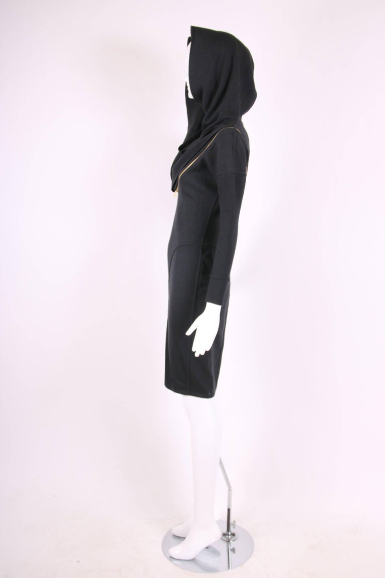 Alaia Museum Quality Black Hooded And Zippered Bodycon Dress, 1986 For Sale 1