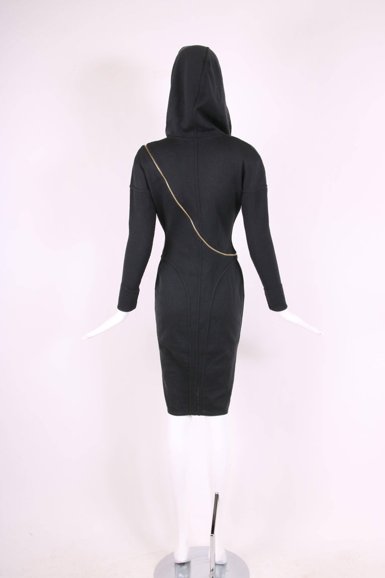 Alaia Museum Quality Black Hooded And Zippered Bodycon Dress, 1986 For Sale 2