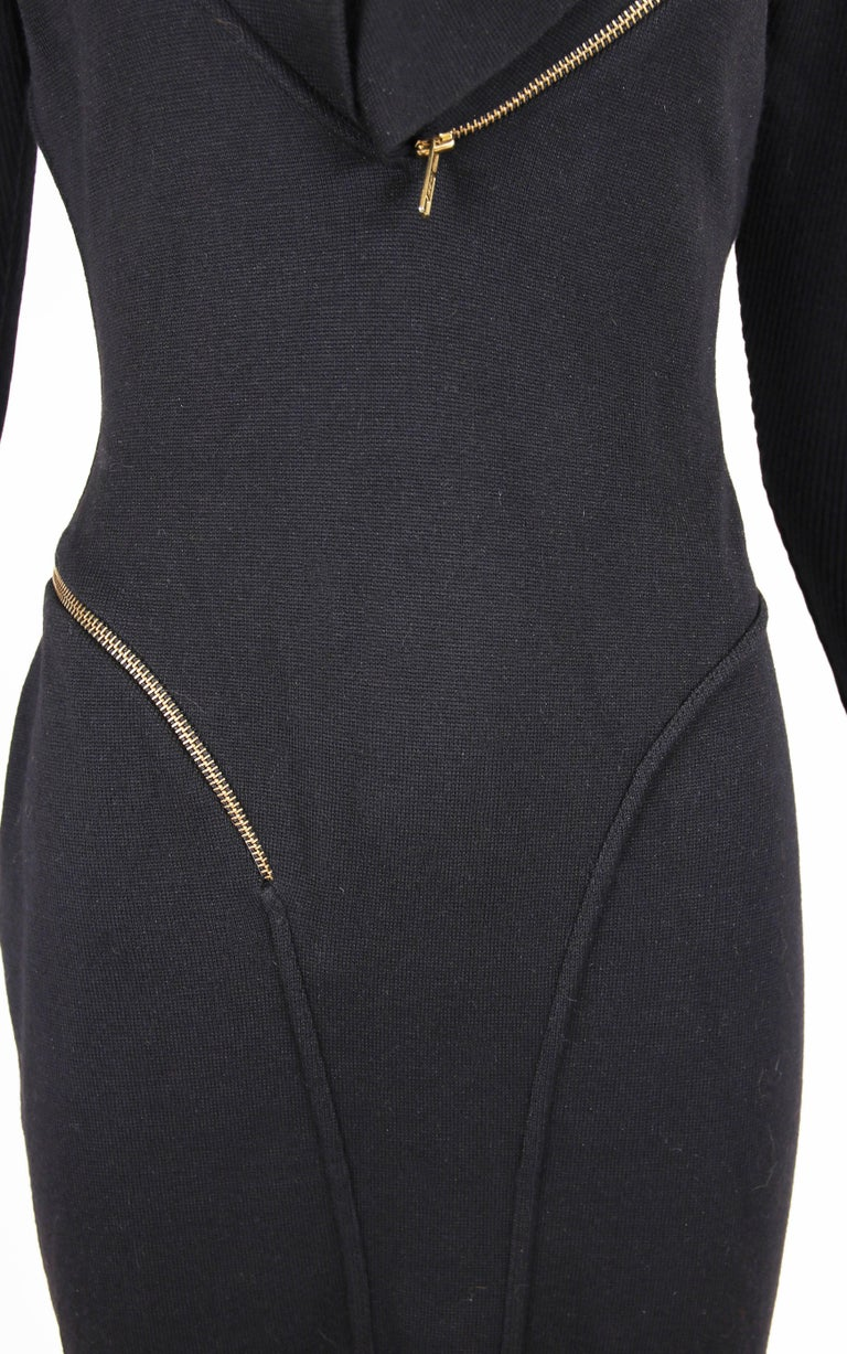 Alaia Museum Quality Black Hooded And Zippered Bodycon Dress, 1986 For Sale 3