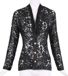 Vintage Chanel Black Lace Jacket w/Black Silk Trim & Goldtone Camellia Buttons