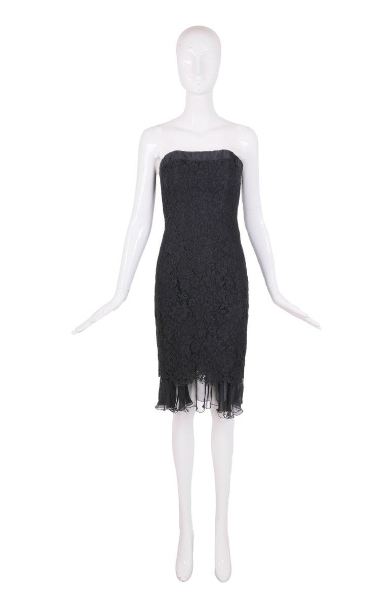 Vintage Chanel Black Lace Strapless Mini Cocktail Dress 2