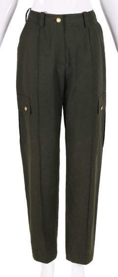 Chanel Olive Green High-Waisted Cargo Pants W/Gold-toned CC Logo Buttons