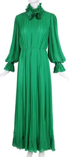 1970's Bill Blass Green Silk Chiffon Pleated Evening Gown w/Silk Trim