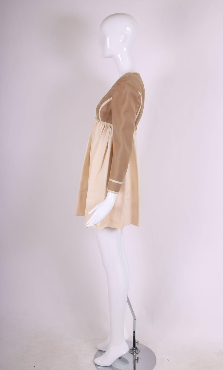 Geoffrey Beene Two Tone Wool and Silk Baby Doll Dress, 1960s 4