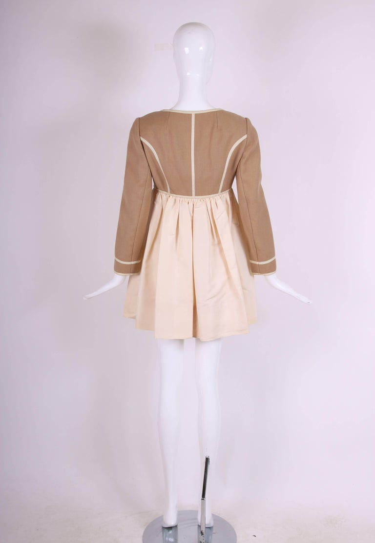 Geoffrey Beene Two Tone Wool and Silk Baby Doll Dress, 1960s 5
