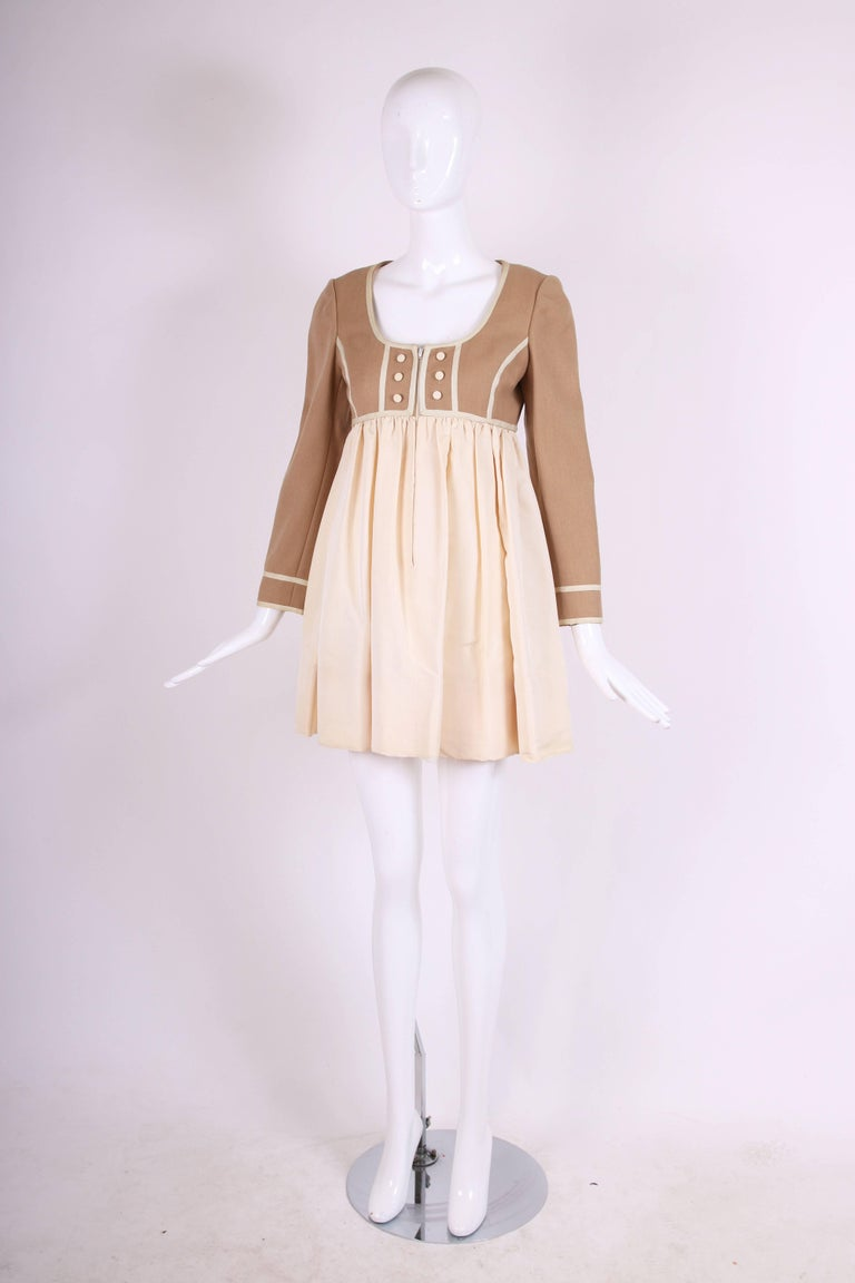 Beige Geoffrey Beene Two Tone Wool and Silk Baby Doll Dress, 1960s For Sale