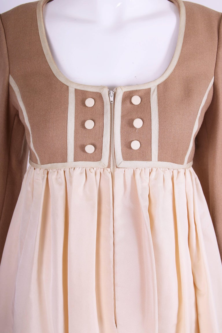 Geoffrey Beene Two Tone Wool and Silk Baby Doll Dress, 1960s For Sale 1