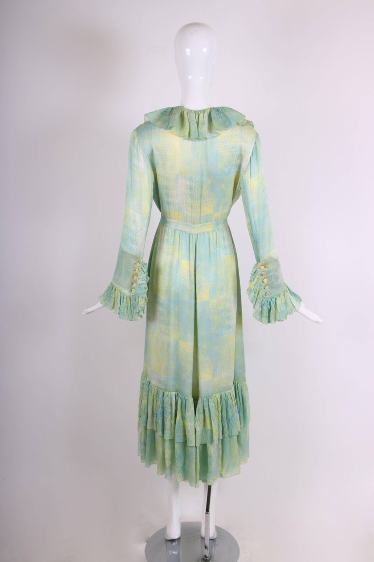 Women's 1970's Chloe Abstract Print Silk Day Dress w/Deep V-Neckline & Ruffled Trim For Sale
