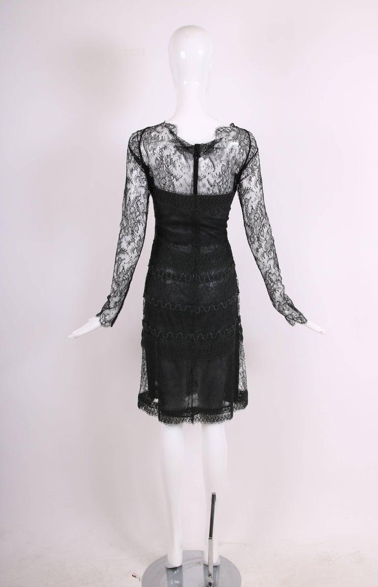 Vintage Guy Laroche Couture Black Lace Illusion Cocktail Dress For Sale 1